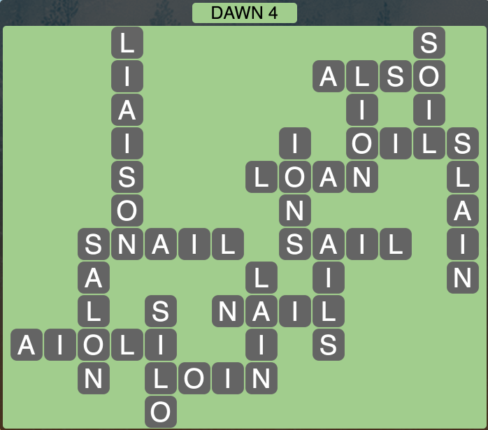 Wordscapes Dawn 4 - Level 1716 Answers