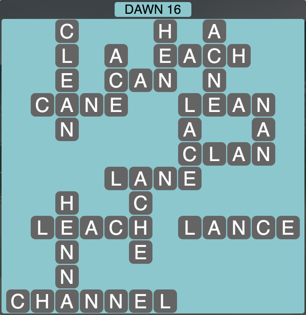 Wordscapes Dawn 16 - Level 1728 Answers