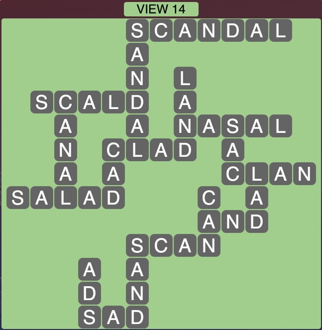 Wordscapes View 14 - Level 1758 Answers