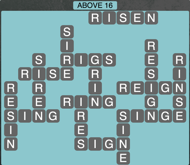 Wordscapes Above 16 - Level 1792 Answers