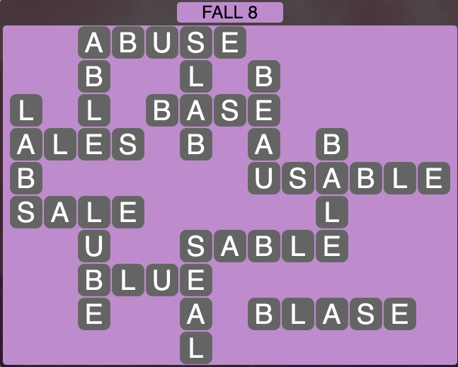 Wordscapes Fall 8 - Level 1800 Answers