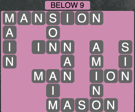 Wordscapes Below 9 - Level 1817 Answers