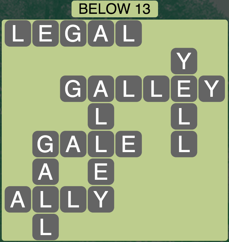 Wordscapes Below 13 - Level 1821 Answers