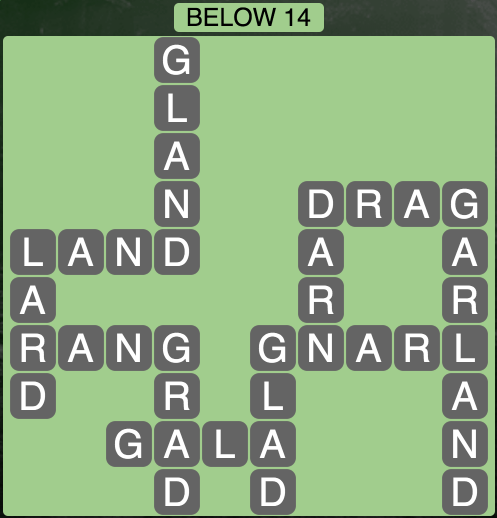 Wordscapes Below 14 - Level 1822 Answers