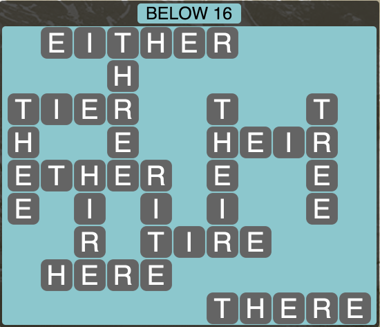 Wordscapes Below 16 - Level 1824 Answers