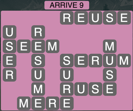Wordscapes Arrive 9 - Level 1833 Answers