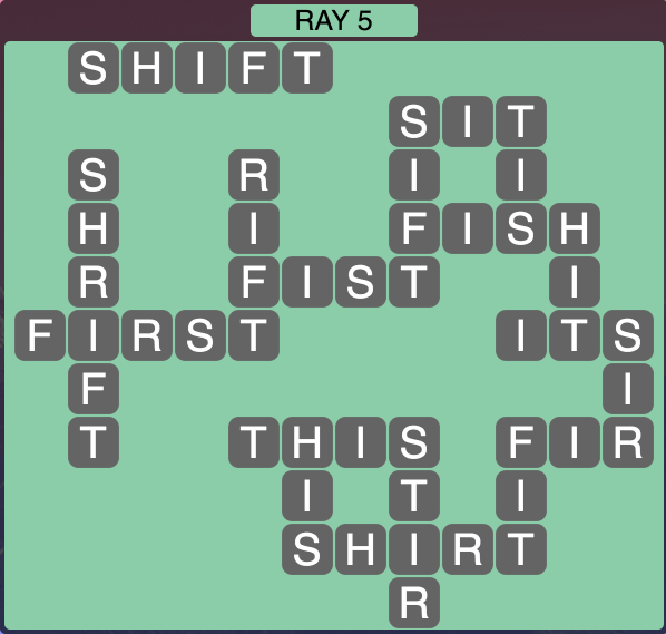 Wordscapes Ray 5 - Level 1845 Answers
