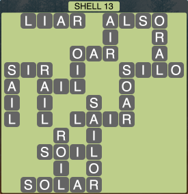 Wordscapes Coast Shell 13 - Level 2029 Answers