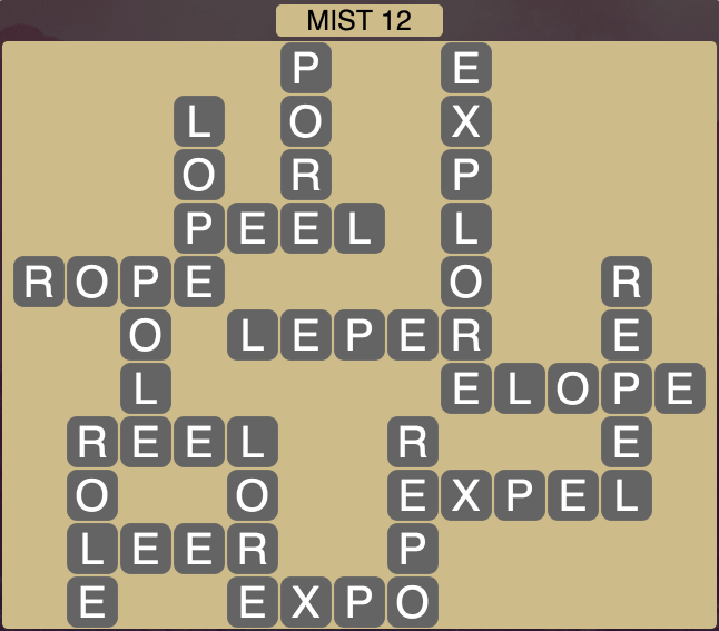 Wordscapes Twilight Mist 12 - Level 2092 Answers