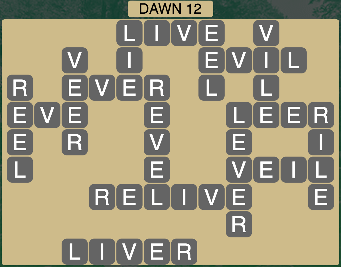 Wordscapes Twilight Dawn 12 - Level 2124 Answers