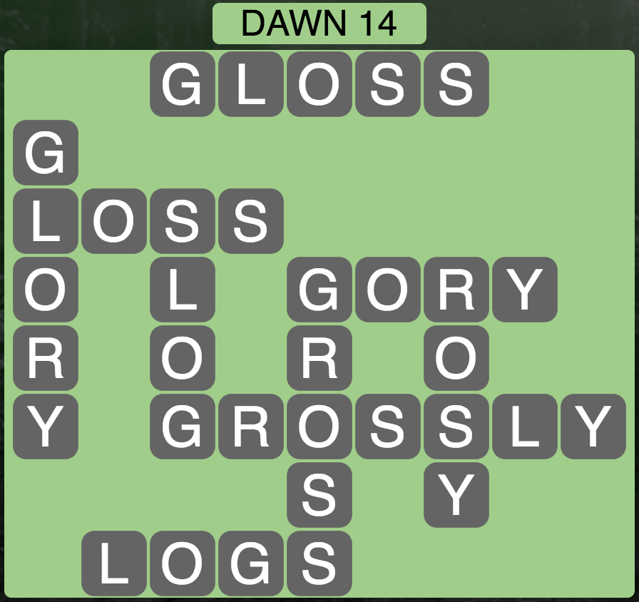 Wordscapes Twilight Dawn 14- Level 2126 Answers