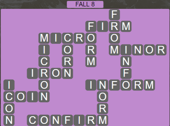 Wordscapes Marsh Fall 8 - Level 2168 Answers