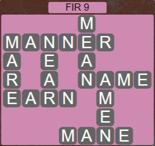Wordscapes Woods Fir 9 - Level 2249 Answers