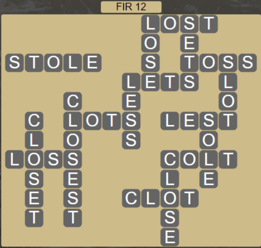 Wordscapes Woods Fir 12 - Level 2252 Answers