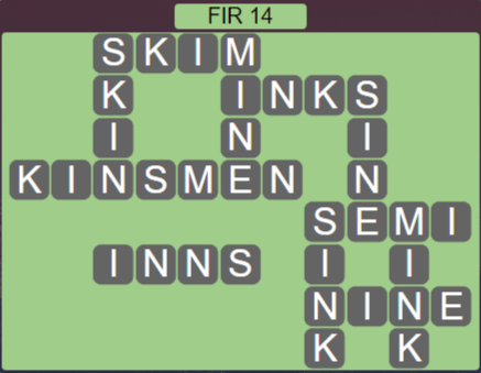 Wordscapes Woods Fir 14 - Level 2254 Answers
