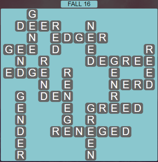Wordscapes Woods Fall 16 - Level 2288 Answers