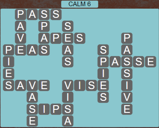 Wordscapes Tide Calm 6 - Level 2438 Answers