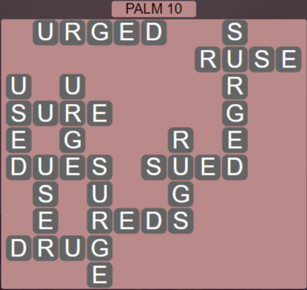 Wordscapes Lagoon Palm 10 - Level 2650 Answers