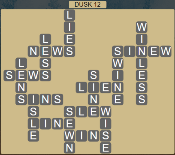 Wordscapes Lagoon Dusk 12 - Level 2716 Answers
