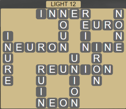 Wordscapes Ice Light 12 - Level 2844 Answers