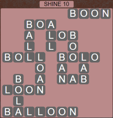 Wordscapes Bloom Shine 10 - Level 2922 Answers