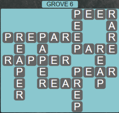 Wordscapes Fall Grove 6 - Level 3030 Answers