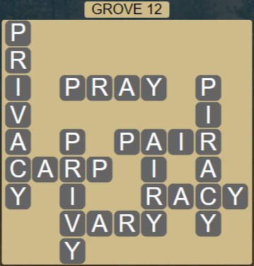Wordscapes Fall Grove 12 - Level 3036 Answers