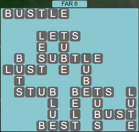 Wordscapes Rows Far 6 - Level 3158 Answers