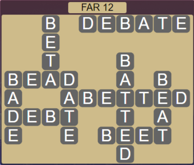 Wordscapes Rows Far 12 - Level 3164 Answers