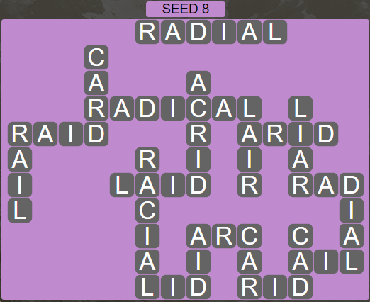 Wordscapes Rows Seed 8 - Level 3192 Answers