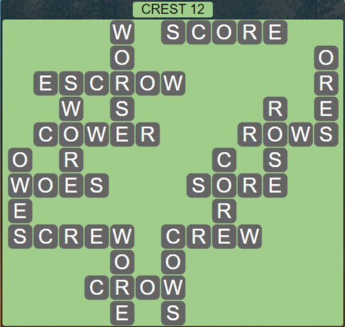 Wordscapes Reflect Crest 12 - Level 3564 Answers