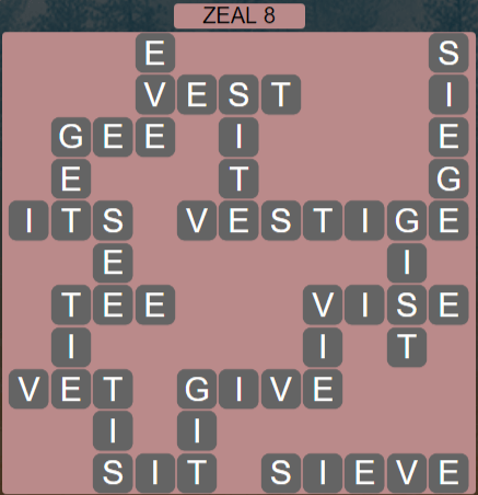 Wordscapes Majesty Zeal 8 - Level 3640 Answers