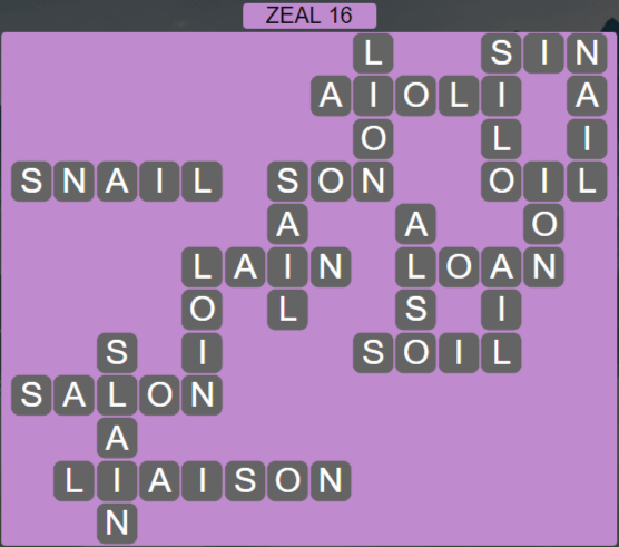 Wordscapes Majesty Zeal 16 - Level 3648 Answers