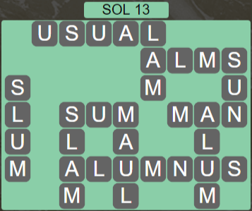 Wordscapes Astral Sol 13 - Level 3725 Answers