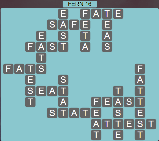 Wordscapes Green Fern 16 - Level 3856 Answers