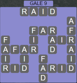 Wordscapes Wind Gale 9 - Level 4057 Answers