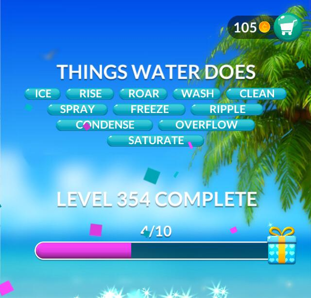 Word Stacks Level 354 Things Water Does Answers
