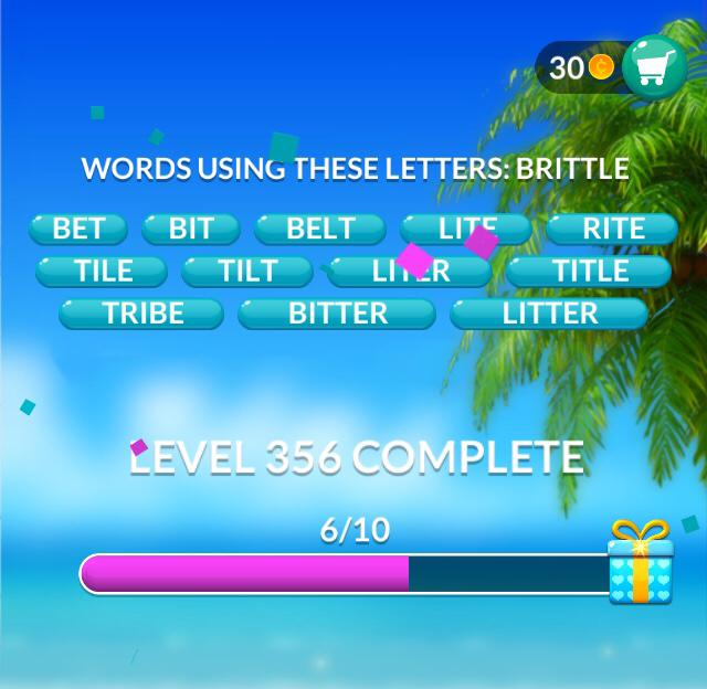 Word Stacks Level 356 Words Using These Letters Brittle Answers
