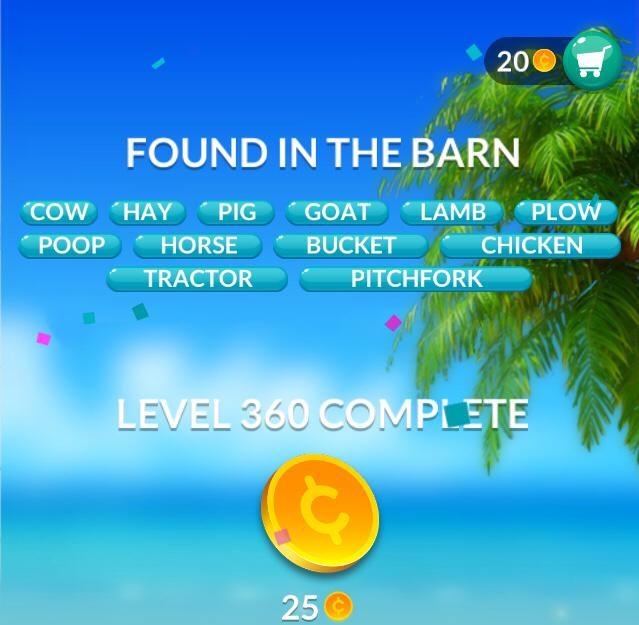Word Stacks Level 360 Found in The Barn Answers