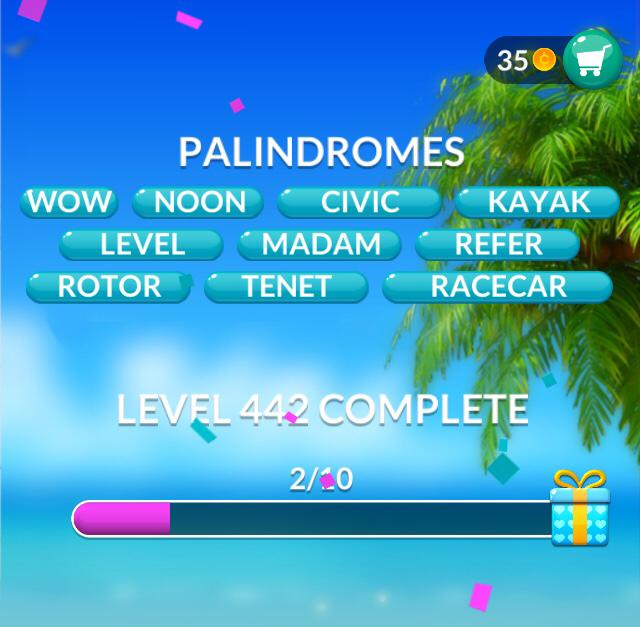 Word Stacks Level 442 Palindromes Answers