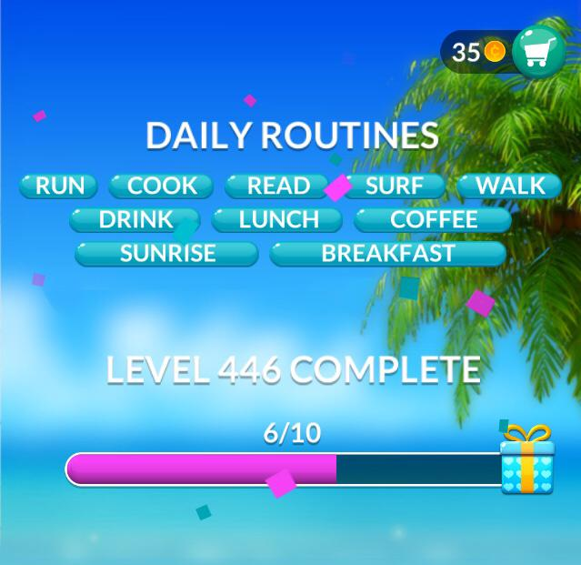 Word Stacks Level 446 Daily Routines Answers