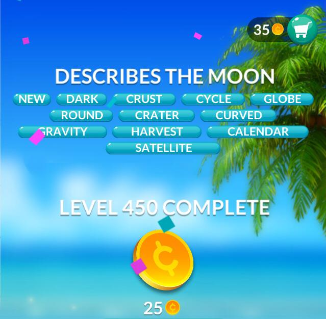 Word Stacks Level 450 Describes The Moon Answers