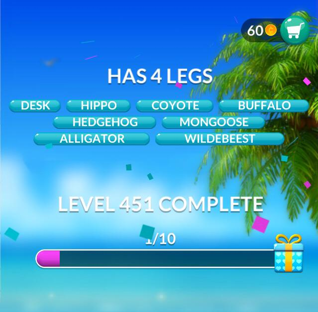 Word Stacks Level 451 Has 4 Legs Answers