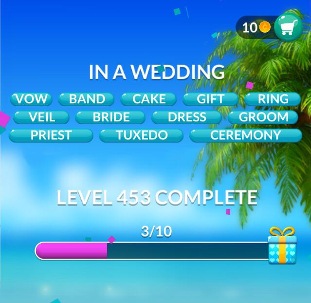 Word Stacks Level 453 In a Wedding Answers