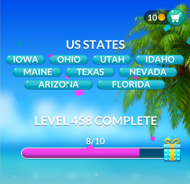 Word Stacks Level 458 US States Answers