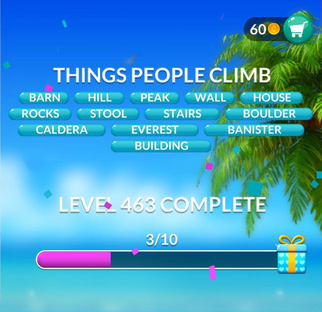 Word Stacks Level 463 Things People Climb Answers
