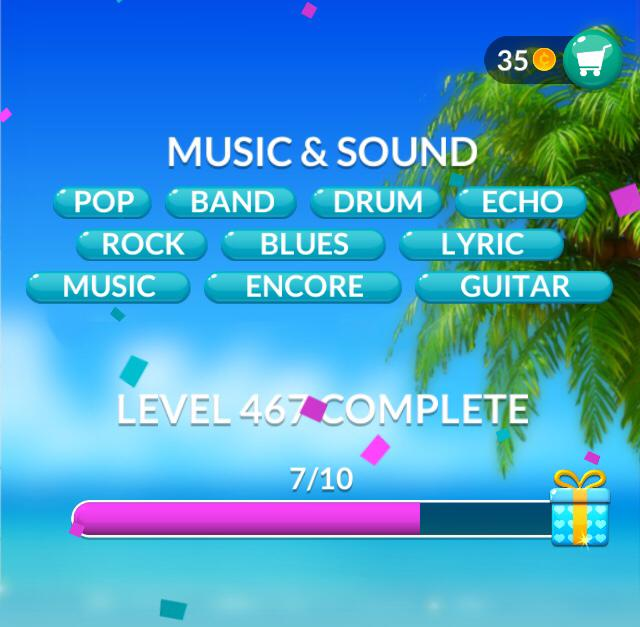 Word Stacks Level 467 Music Sound Answers