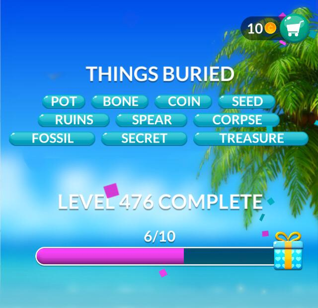 Word Stacks Level 476 Things buried Answers