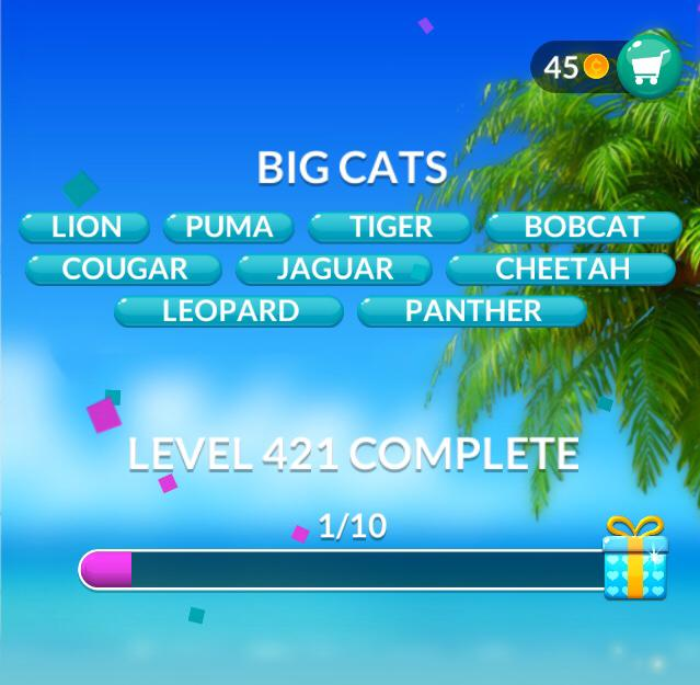 Word Stacks Level 421 Big Cats Answers