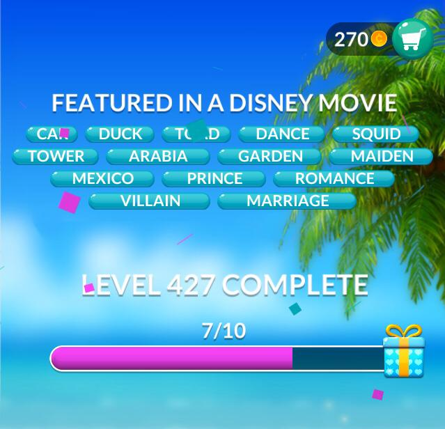 Word Stacks Level 427 Featured in a Disney movie Answers